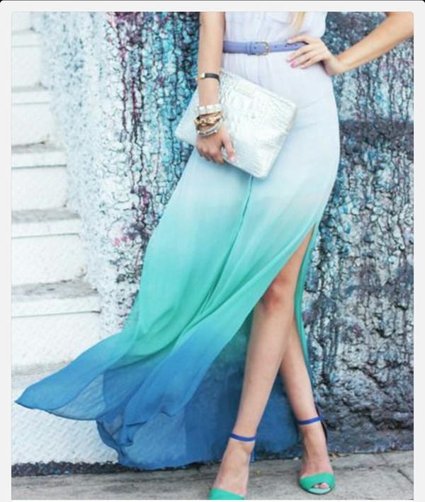 dress maxi maxi dress ombre ombre bleach dye ombre maxi skirt teal dress teal ombre mermaid prom dress maxi with slit hombre long