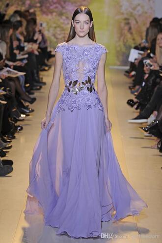 dress lavender light purple sexy lace dress run way leaves gold belt