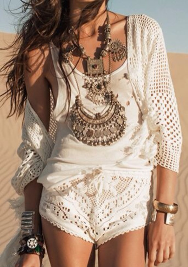 lace lace shorts boho hippie white shorts bohemian shorts white jewels