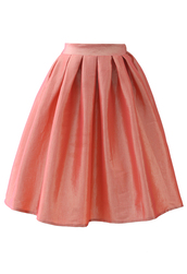 skirt,coral,a-line,midi skirt,hot pink,that shit cray