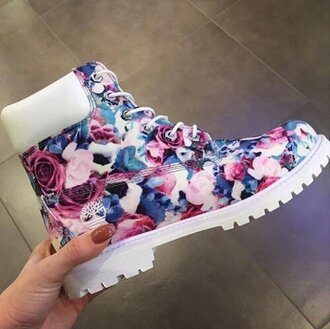 shoes timberlands floral timberlands floral flower timberland's pink blue purple timberland boots white timberlands floral floral shoes