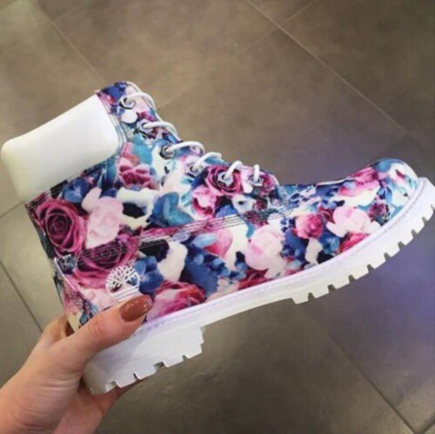 new styles 1ae37 ca517 shoes timberlands floral timberlands floral flower timberland s pink blue  purple timberland boots white timberlands floral floral