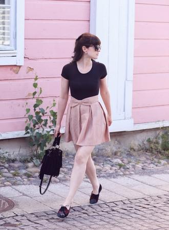 like a riot blogger blush pink flare skirt bow fringed bag