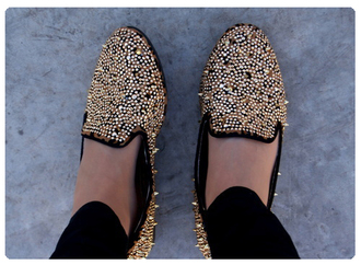 shoes flat flat shoes rivets studs studded spikes gold smoking slippers shoese brown shoes studded flats flats loafers cute studded loafers shoes with spikes oxfords pointed toe black flats gold studs