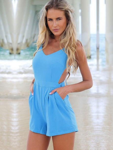 jumpsuit romper blue summer summer dress dress outfit beach style boho bohemian vintage internet tumblr vogue chanel short top shorts skirt beach dress