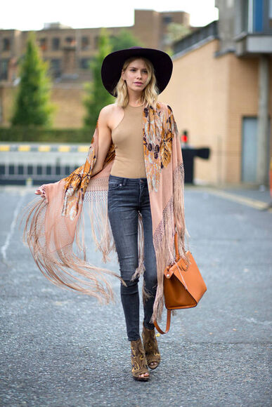 boho hat streetstyle top fashion week 2014 jeans
