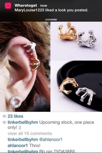 jewels earrings ear cuff ear piercings gold jewelry silver jewelry ears cuffs grunge jewelry