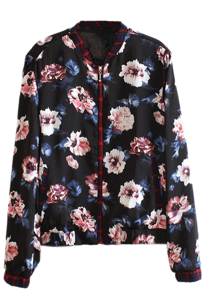 ROMWE | Floral Printed Black Jacket, The Latest Street Fashion