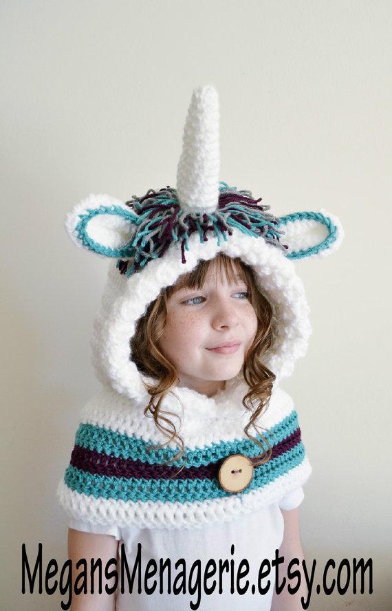 7387eb522 Unicorn Hat - Unicorn Hoodie - Unicorn Cowl - Animal Hat - Hooded Scarf -  Crochet Hoodie - Chunky Crochet Hat