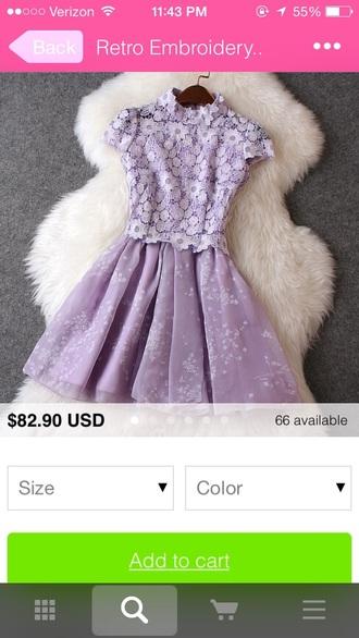 dress purple flowers lace blouse