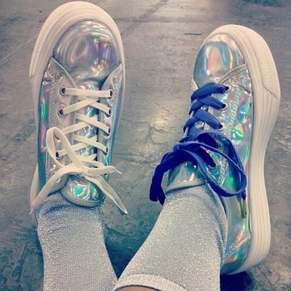 metallic pastel goth platform shoes