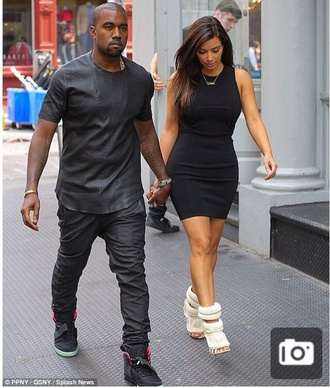 dress kim kardashian kanye west little black dress high heels beautiful shoes jewels shirt