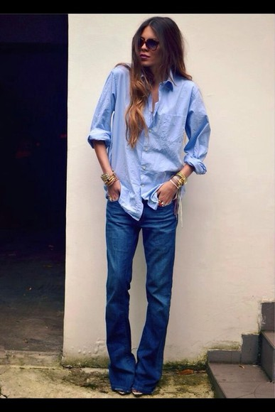 blue skirt shirt denim shirt