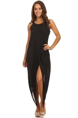 blouse trendyish uneven hem asymmetrical dress shirt dress top sleeveless sheer