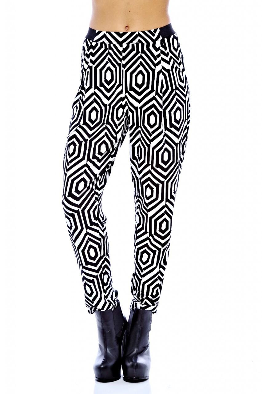 Black and White Geometric Print Harem Pants