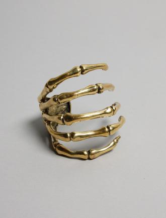 jewels ring gold bones hand skull