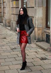 skirt,tumblr,mini skirt,red skirt,vinyl skirt,vinyl,wrap skirt,tights,net tights,fishnet tights,boots,black boots,ankle boots,high heels boots,sweater,black sweater,coat,grey coat,scarf