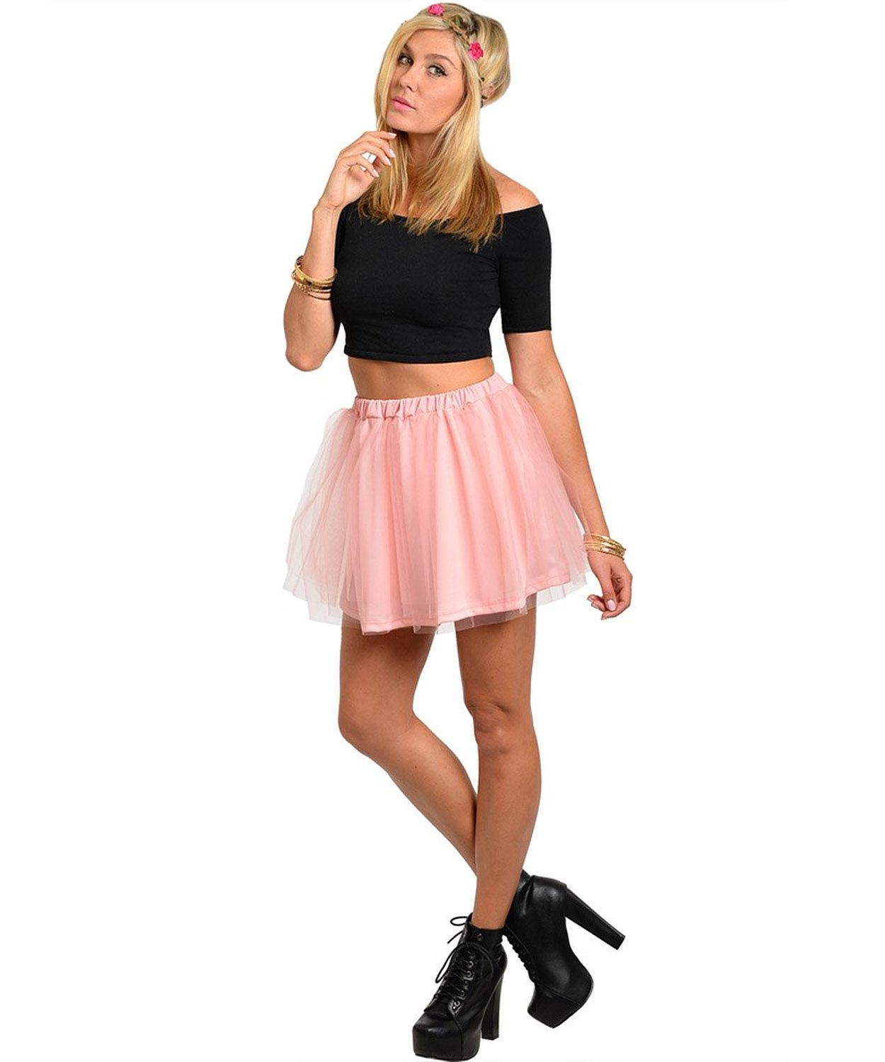 Simplicity Lady Women Cute & Flirty Short Tutu Skirt w/ Layers of Sheer Tulle S at Amazon Women's Clothing store: