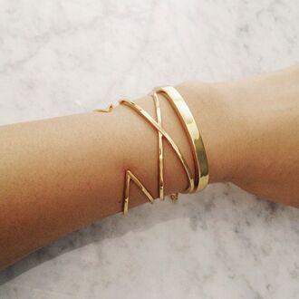 jewels cuff bracelet gold triangle geometric criss cross