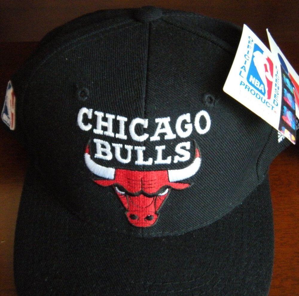 Chicago Bulls Vintage Snapback Cap Hat All Blk  88968bb73
