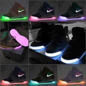 shoes,neon,pink,purple,nike,black,light,glow in the dark,sneakers,yeezy,high top sneakers,colorful,nike shoes,lights,nike air yeezy,skate shoes,nike air yeezy 1 glow in the dark,light up