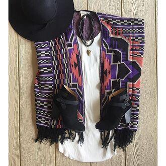 cardigan divergence clothing oversized cardigan oversized sweater october knits this cardigan this sweater boho fringe cardigan black boots colorful sweater tribal cardigan fringed jacket