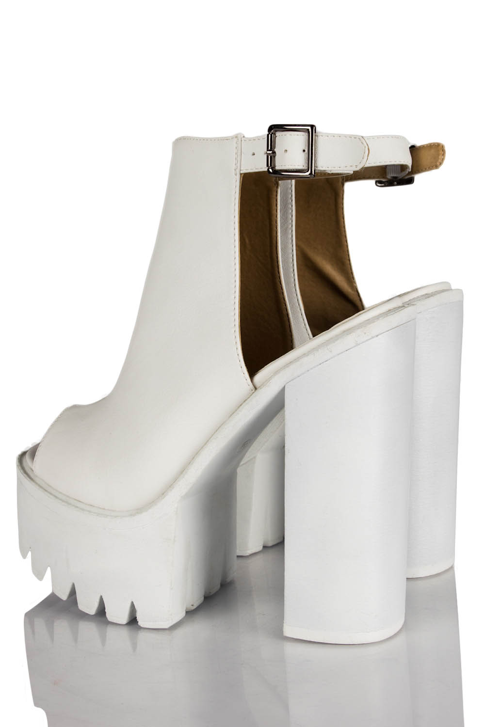 Mollie ankle strap peep toe chunky platform boots in white pu
