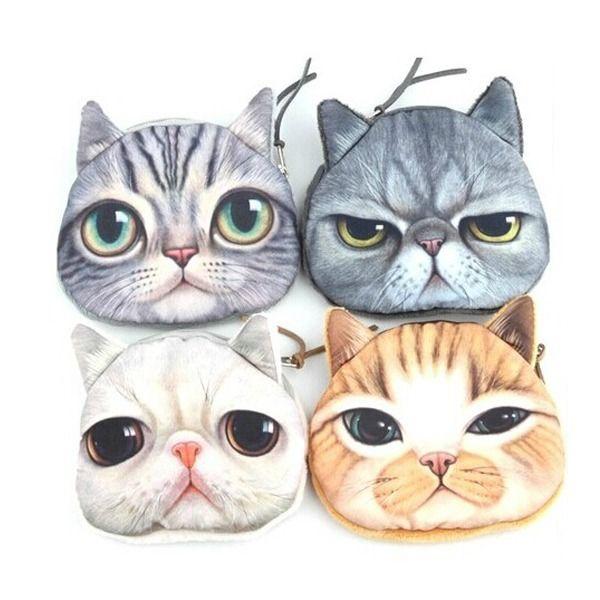 Cat face cute lovely card coin money zipper bag purse pouch wallet zipper case