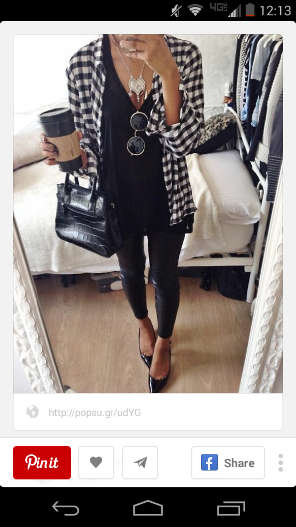 black & white button up shirt