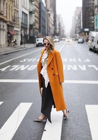 top polka dots top oversized coat polka dots skirt maxi skirt coat orange oversized shoes mules