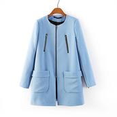 coat,jacket,sky blue,pockets jacket,trench coat