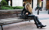 shoes,black,leather,bag,motorcycle boots,balenciaga,blonde hair