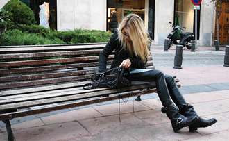 balenciaga shoes black leather bag motorcycle boots blonde hair