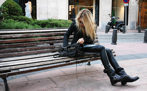 shoes black leather bag motorcycle boots balenciaga blonde hair