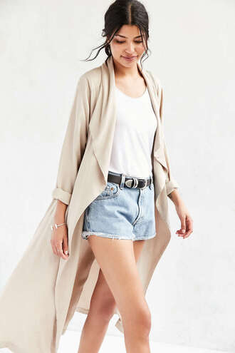 coat duster coat beige coat waterfall coat urban outfitters long coat