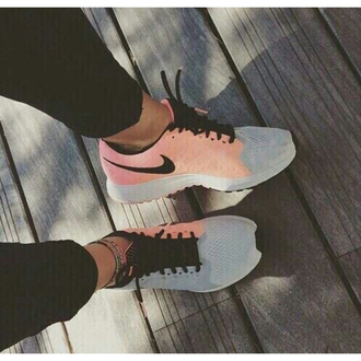 shoes nike trainers sneakers run train grey pink