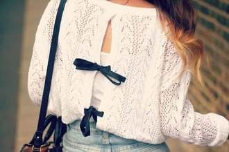 blouse white lace top navy bows navy bows