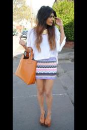 skirt,aztec,aztec skirt,dress,blouse,bag,shoes