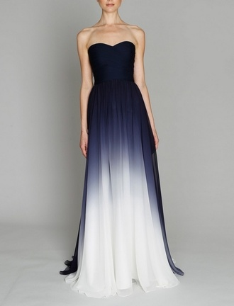 dress blue white dip blend maxi maxi dress long elegant navy silk chiffon gown dye blue dress white dress light blue dress blue white prom dress prom evening strapless black&white ombr? dress heartshaped beautiful dress
