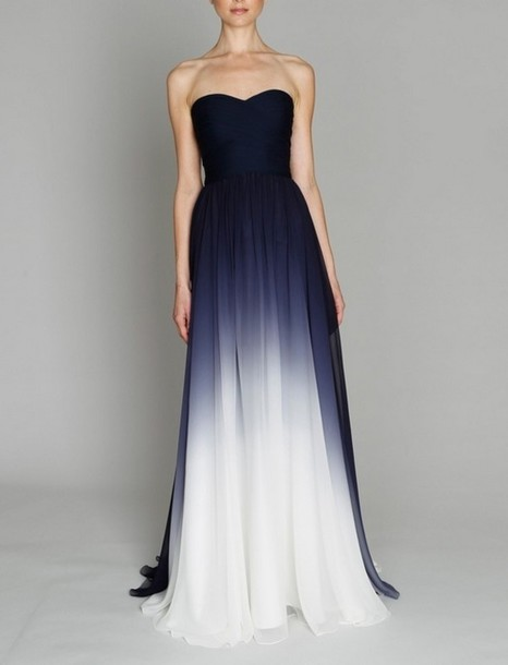 Dress Prom Dress Blue Dress Navy Prom Dress Blue White Ombr
