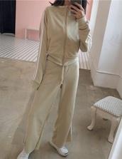jumpsuit,tan,girly,nude,girly wishlist,girl,two-piece,matching set,jacket,zip,zip-up,zip up jacket,sweatpants,stripes,white