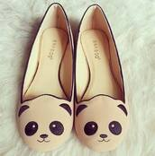shoes,panda,cute,ballet flats,cream,black,lovely,flats,sweet,girly,bamboo,bamboo shoes cute face  cat,panda flats,pandaflats,hipster,tumblr,sophisticated