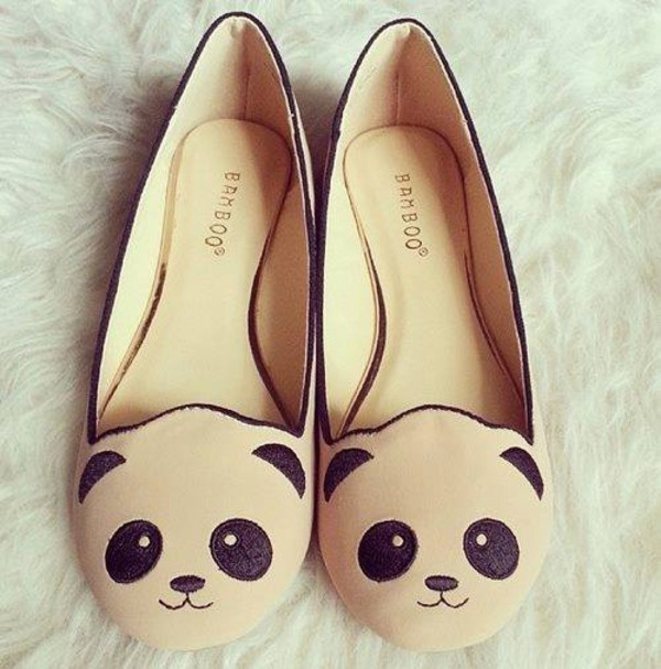 shoes panda cute ballet flats cream black lovely flats sweet girly bamboo bamboo shoes cute face  cat panda flats pandaflats hipster tumblr sophisticated