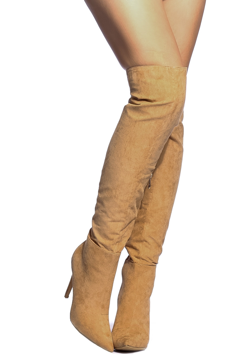 Faux Suede Pointed Toe Knee High Boots @ Cicihot Boots Catalog ...
