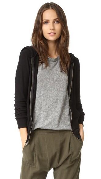 hoodie basic zip black sweater