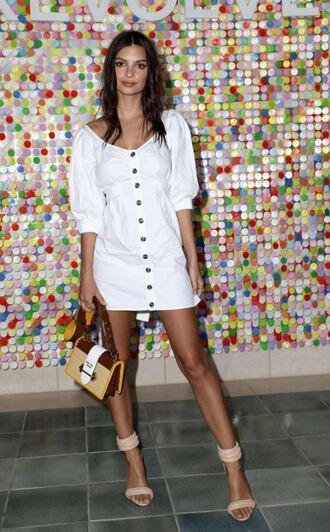 dress white white dress sandals emily ratajkowski model off-duty mini dress purse coachella festival