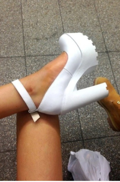 shoes high heels cute fashion white white heels must have summer trends platforms
