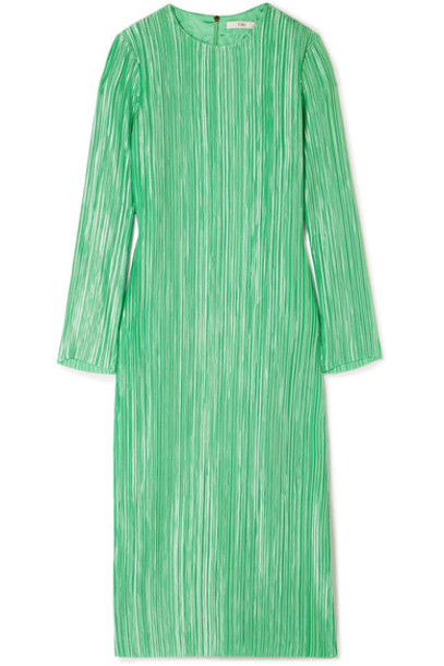 Tibi dress midi dress midi green satin