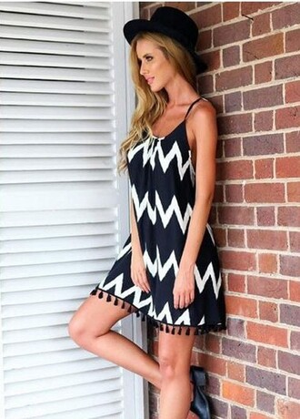 dress zaful summer outfits boho black and white black dress girly beach dress casual summer backless stylish style boho dress black skirt