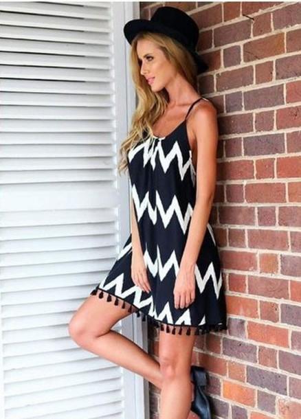 Black and White Beach Dress